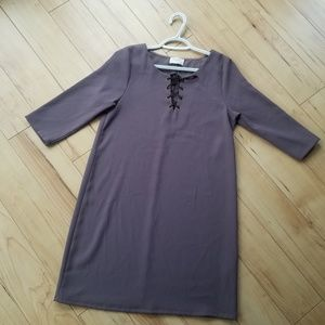 Everly stone Grey dress with leather tie neck